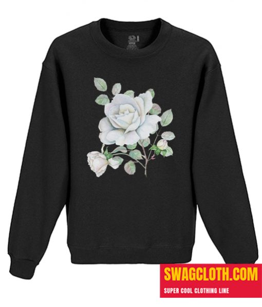 White Roses Watercolor Flowers Daily Sweatshirt