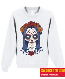 Woman Skull Face with Roses Flowers Daily Sweatshirt